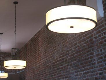 Cafe remodel brick wall